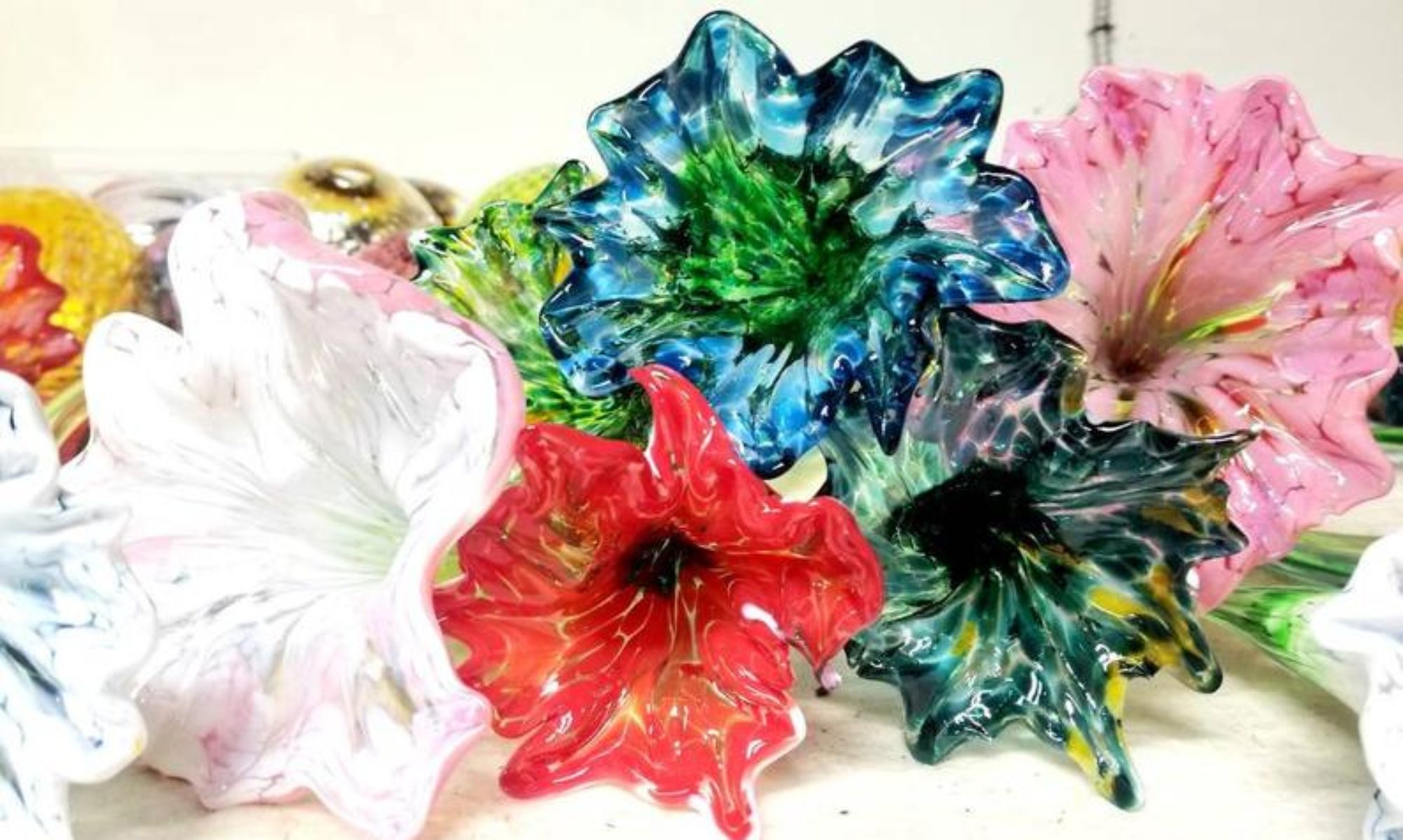 """Small group glassmaking workshops, and Gift Cards now on sale at 70% off using promo code """"SPRINGFLOW"""" at checkout."""